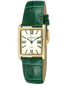 Đồng hồ Peugeot Women's 14K Gold Plated Tank Roman Numeral Green Leather Band Watch 3036GR