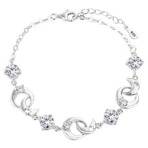 Vòng tay EleQueen 925 Sterling Silver Round CZ Moon Star Bracelet Chain Rhodium Plated, 6.9