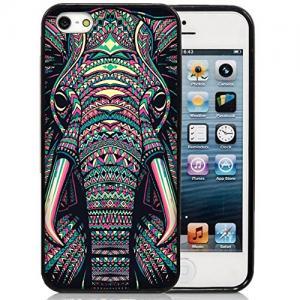 Ốp lưng iPhone 5S Case,iPhone 5S Black Case, Dsigo TPU Full Cover Protective Case for New Apple iPhone 5S - Retro Vintage Aztec totem elephant