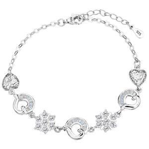 Vòng tay EleQueen Rhodium Plated 925 Sterling Silver CZ Flower Love Heart Bracelet Chain, 6.9