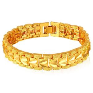Vòng tay nam Fashion 18K Gold Plated Men's Link Bracelet Carving Wistband, 17mm, 8 Inch