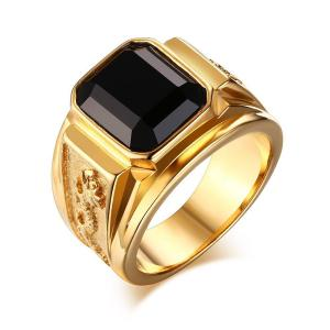 Nhẫn nam Stainless Steel Gold Plated Black Rhinestone Crystal Ring for Men Women Engagement Wedding Band