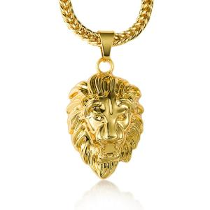 Vòng cổ nam Halukakah® Men's 18k Real Gold Plated 3d Lion Head Pendant Necklace,with FREE Fishtail Chain 30