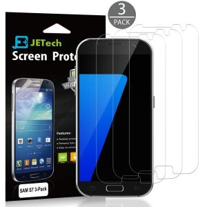 Miếng dán màn hình S7 Screen Protector, JETech 3-Pack Full Screen Screen Protector film HD Clear Retail Packaging for Samsung Galaxy S7