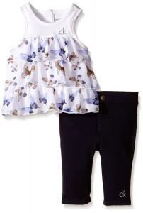 Calvin Klein Girls Jersey and Printed Georgette Tunic with Denim Leggings