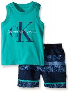 Calvin Klein Baby-Boys Green Jersey Muscle Top and Microfiber Shorts