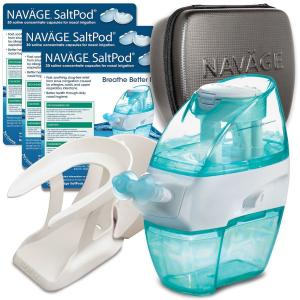 Hỗ trợ điều trị xoang Naväge Nasal Irrigation Deluxe Bundle: 1 Navage Nose Cleaner, 3 SaltPod® 30-Packs (90 SaltPods), 1 Countertop Caddy, and 1 Travel Case. $175.70 if purchased separately