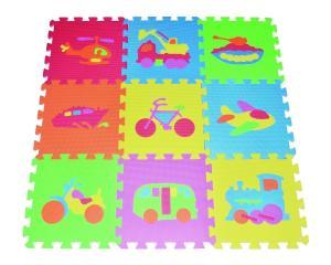 Thảm cho bé Transportation Puzzles Play Mat 9-tile EVA Foam Rainbow Floor by Poco Divo