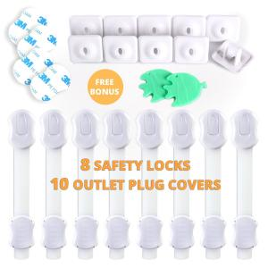 Miếng bít ổ cắm điện FamilyPro Baby safety products - 8 Adjustable child safety locks & 10 USA Outlet plug covers for electric socket covers