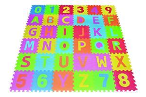 Thảm cho bé Letters & Numbers Puzzle Play Mat 36 Tiles EVA Foam Rainbow Floor by Poco Divo