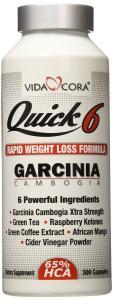Thuốc hỗ trợ giảm cân Vida Cora Quick Six Garcinia Cambogia Extra Strength with Green Tea, Raspberry Ketones, Green Coffee, African Mango and Apple Cider Vinegar 500MG 300 Capsules: Weight Control Formula