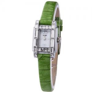 Đồng hồ TIME100 Fashion Diamond Square Shell Dial Green Leather Strap Ladies Watch #W50224L.01A