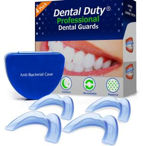 Professional Dental Guard -4(pack)- Stops Teeth Grinding, Bruxism, Tmj, & Eliminates Teeth Clenching .All Orders includes Fitting Instructions & Anti-Bacterial Case. 100% Satisfaction Is guaranteed!