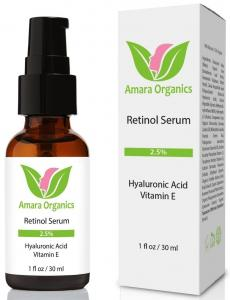 Amara Organics Retinol Serum 2.5% with Hyaluronic Acid & Vitamin E, 1 fl. oz.