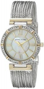 Anne Klein Women's AK/2145MPTT Swarovski Crystal Accented Two-Tone Chain Bracelet Watch