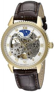 Stuhrling Original Men's 835.03 Automatic  Self Wind Skeleton Special Reserve Brown Leather Strap Watch