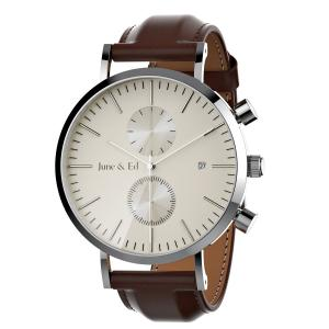 June & Ed Quartz Stainless Steel Men's Watch with Sapphire Crystal Dial Window W-0020