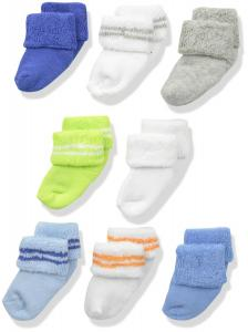 Luvable Friends Boys' 8 Pack Newborn Socks