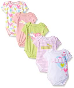 PUMA Baby-Girls 5 Pack Short Sleeve Bodysuit
