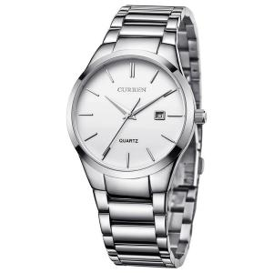 Voeons Men's Watches Auto Date Analog Silver Stainless steel Strap Casual Watch