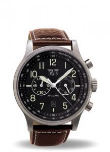 Davis 1021-Mens Aviator Watch 42mm-Waterresist 50M-Chronograph-Black Dial-Date-Brown Leather strap