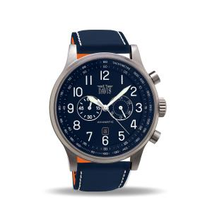 Davis 0455 - Mens Aviator Watch Chronograph Waterresist 50M Blue Dial Date Blue Leather Strap