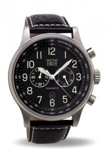Davis 0450 - Mens Aviator Watch Chronograph Waterresist 50M Black Dial Date Black Leather Strap