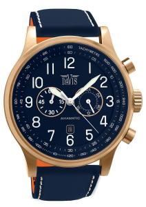 Davis 1945 - Mens Aviator Watch Rose Gold Case Chronograph Waterresist 50M Blue Dial Date Blue Leather Strap