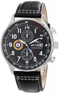 AVI-8 Men's AV-4011-02 Hawker Hurricane Stainless Steel Watch with Black Leather Band
