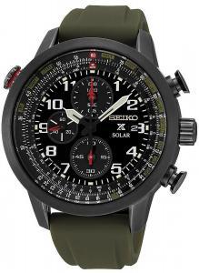 SEIKO SSC353P1,Men's Solar,Alarm Chronograph,Military Style,Stainless Steel Case,Silicon Strap,100m WR,SSC353