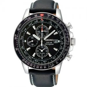 Seiko Men's SSC009P3 Black Dial Flight Watch