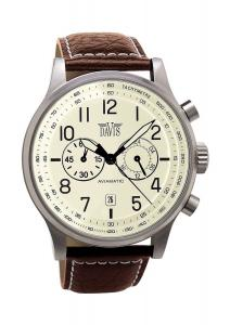 Davis 1023 - Mens Aviation Watch Chronograph Waterresist 50M Beige Dial Date Brown Leather Strap