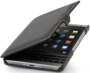 StilGut Book Type with Clip, Genuine Leather Case for BlackBerry Passport Silver Edition, Black Nappa