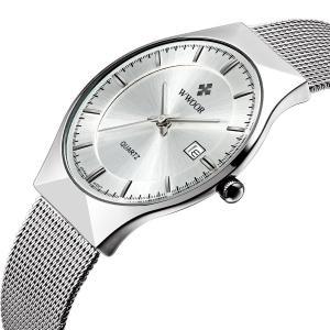Fashion Mens Watch Mesh Band Japanese Analog Quartz Movt Thin Dial Date Wrist Watches,White