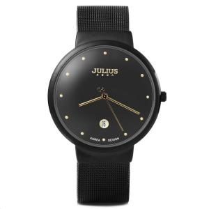Watchpl Male Ultrathin Stainless Steel Mesh Band Quartz Wrist Watch(Black)