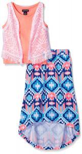 U.S. Polo Assn. Girls' 3 Piece Lace Vest, Tank Top and Hi-Lo Maxi Skirt Set