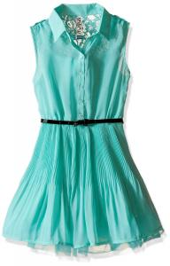 Beautees Sleeveless Skater Dress with Collar and Elastic Waistband