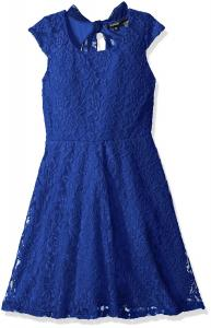 Zunie Girls' Capsleeve Allover Lace Skater Dress with Chiffon Bow