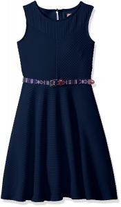 Speechless Girls' Textured Knit Belted Skater Dress