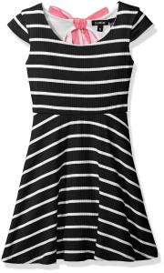 Zunie Girls' Capsleeve Ribbed Striped Skater Dress with Chiffon Bow