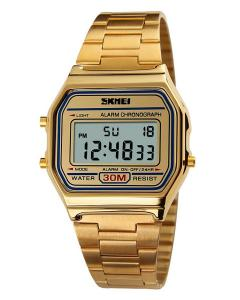 SKMEI Men's OLA-SK1123A Multifunctional Digital Display Stainless Steel Watch Gold