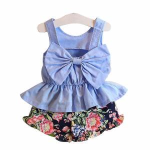 FEITONG Child Kids Girls' Clothing Set Big Bow Vest Shirt Top + Floral Shorts