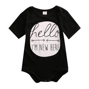 "Baby Boys Girls Short Sleeve ""Hello I'm New Here"" Bodysuit"