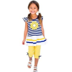 Rumas® Little Girls Sunny Cute Daisy Flower Stripe Shirt Top + Shorts Clothes