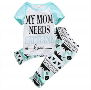 """Little Girls """"MY MOM NEEDS CAFFEINE"""" T-shirt and Ruffle Cropped Pants Outfit"""