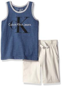 Calvin Klein Little Boys' 2 Piece Set- Graphic Tank Top and Drawstring Short