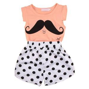 Chinatera 2pcs Summer Baby Girl Short Clothes Set:Mustache Shirt+ Dot Pants