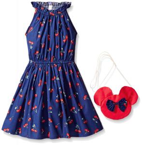 Sunny Fashion Girls' Dress Cherry Fruit Print Cotton With Cute Handbag Blue