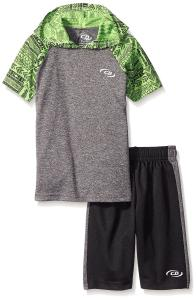 CB Sports Little and Big Boys' 2 Piece Performance Athletic T-Shirt and Short Set