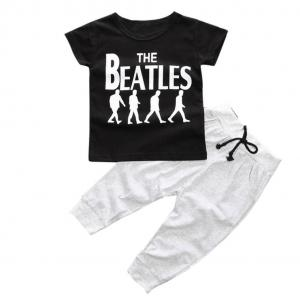 1Set Toddler Kids Baby Boy T-shirt Tops+Long Pants Trousers By FEITONG (Size:24M, black)